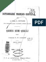 Huyghe ; Dictionnaire  Français-  Kabyle (1902)