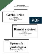 Biblioteka Latina et Graeca - Nova izdanja