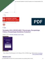 Sociedad Chilena de Psicología Clínica _ Blog _ Noviembre 2013 _ SEMINARIO _Psicoterapia, Psicopatología Clínica, Psicopatología Estadística-Normativa_