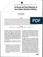 An Analysis of the Mission and Vision Statements on the Strategic Plans of Higher Education Intitutions