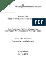 Relações entre a Saúde e o Trabalho na Enfermagem - Contribuições da Psicologia Social - Jeane Souza