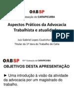 Aspectos Práticos da Advocacia Trabalhista e atualidades