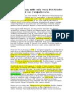 Vargas Llosa M Entrevista Sobre Su Vida Trabajo e Ideas en Setiembre de 2013 B