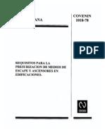 COVENIN 1018-78 Presurización en Medios de Escape