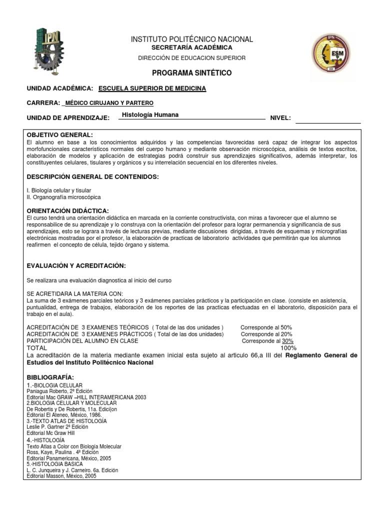 Programa Histología