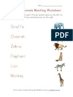 African Animals Matching Worksheet