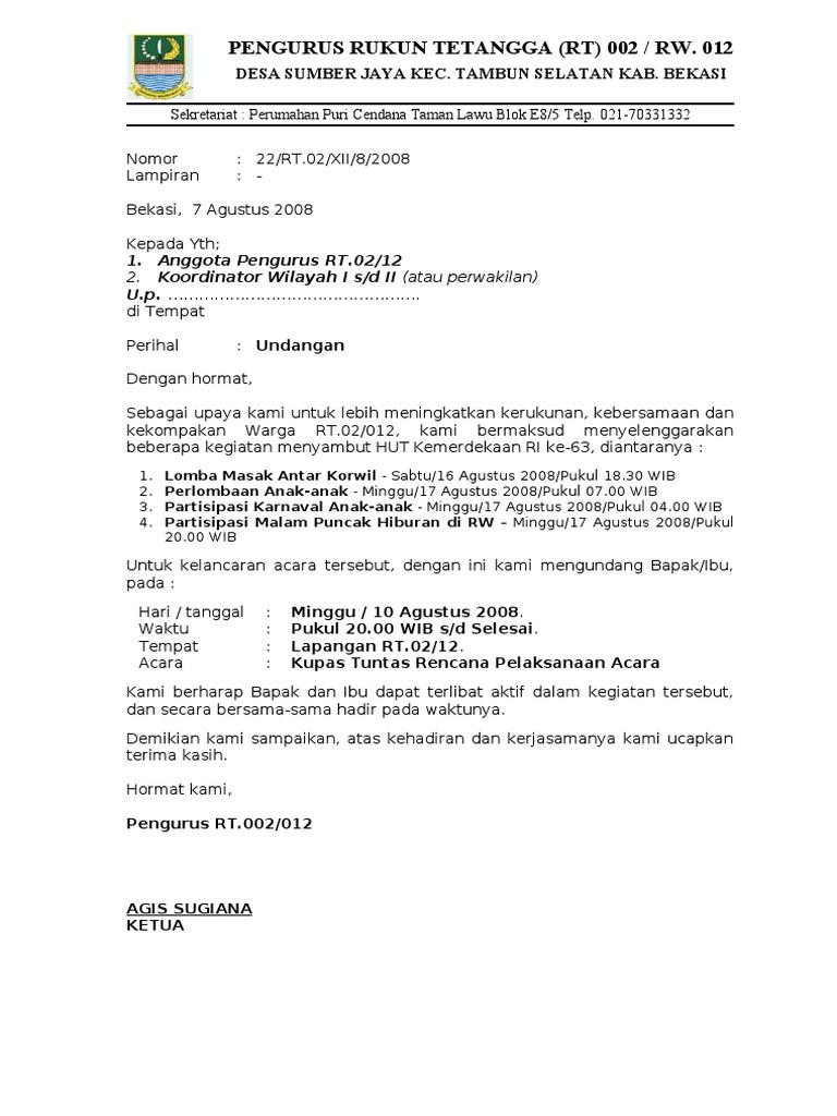 Rt 2008 22 Surat Undangan Rapat Siap Hut Ri 63