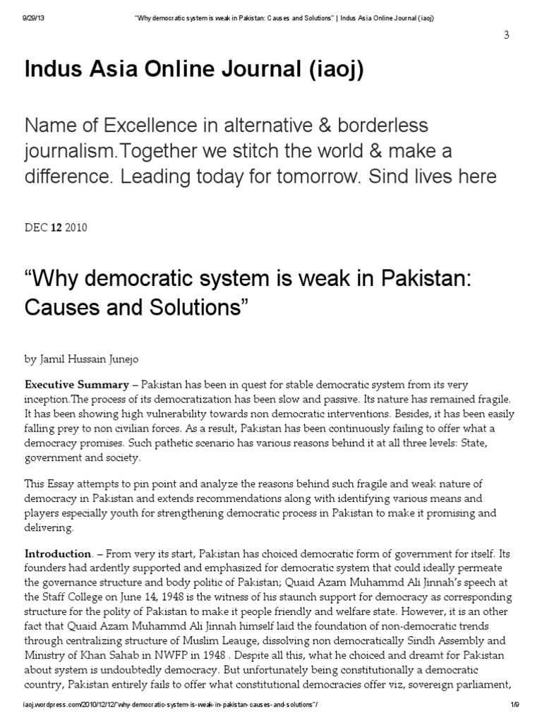 youth and democracy essay