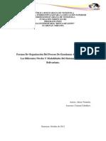 Formas de organización del proceso de enseñanza aprendizaje en los diferentes niveles y modalidades del sistema educativo Bolivariano