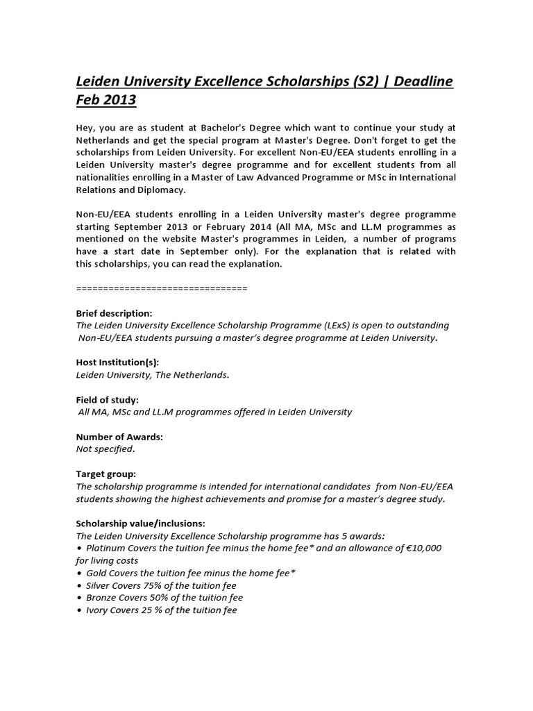 Leiden university excellence scholarships academic degree leiden university excellence scholarships academic degree masters degree spiritdancerdesigns Images