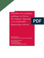 Redéfinir une politique publique en faveur des langues régionales et de la pluralité linguistique interne