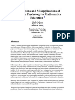 Applications and Misapplications of Cognitive Psychology to Mathematics Education