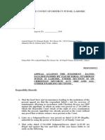 Appeal Against He Order Ashraf Masih 31.08.09