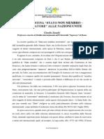 Zanghì Claudio, LA PALESTINA STATO NON MEMBRO – OSSERVATORE ALLE NAZIONI UNITE