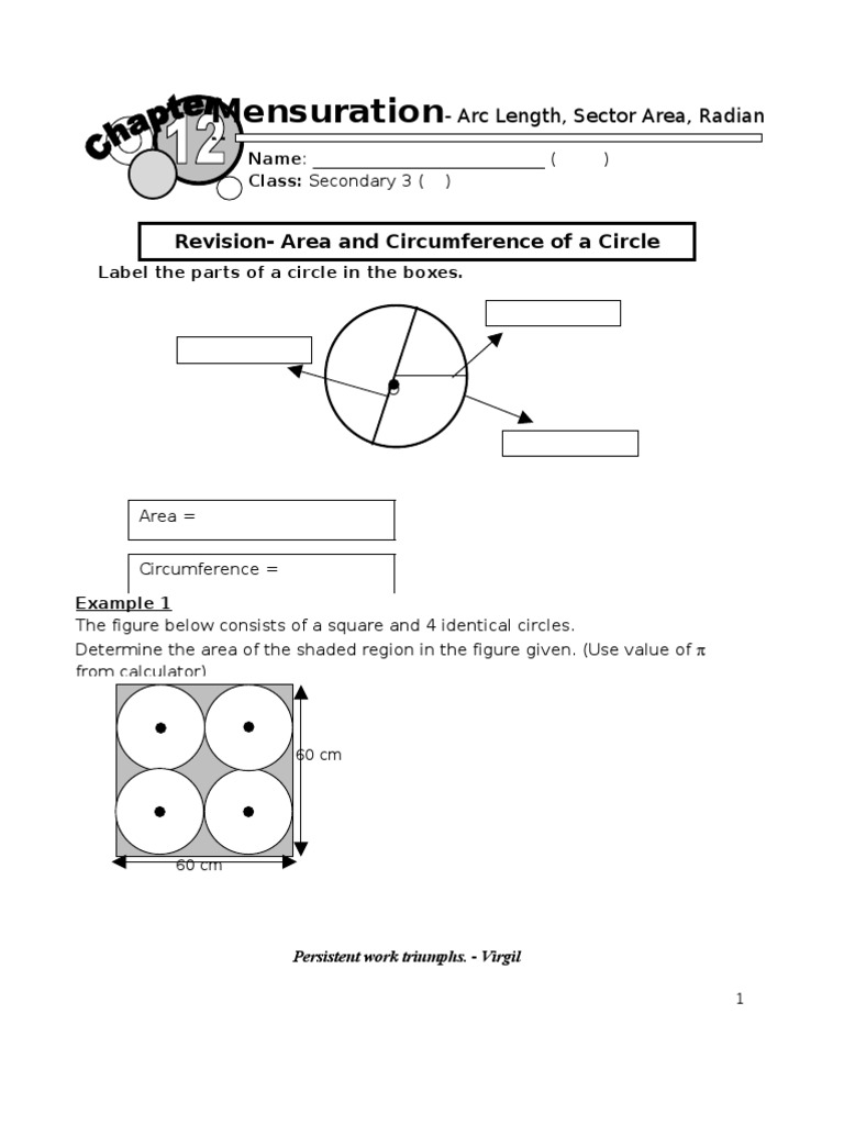Worksheets Area Of Shaded Region Worksheet arc length and area of sector circle