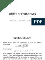 1. Raices de Ecuaciones