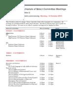 New Zealand Select Committee Meetings week beginning Monday October 14, 2013