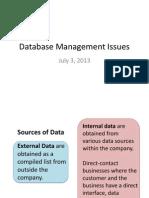 Database Management Issues