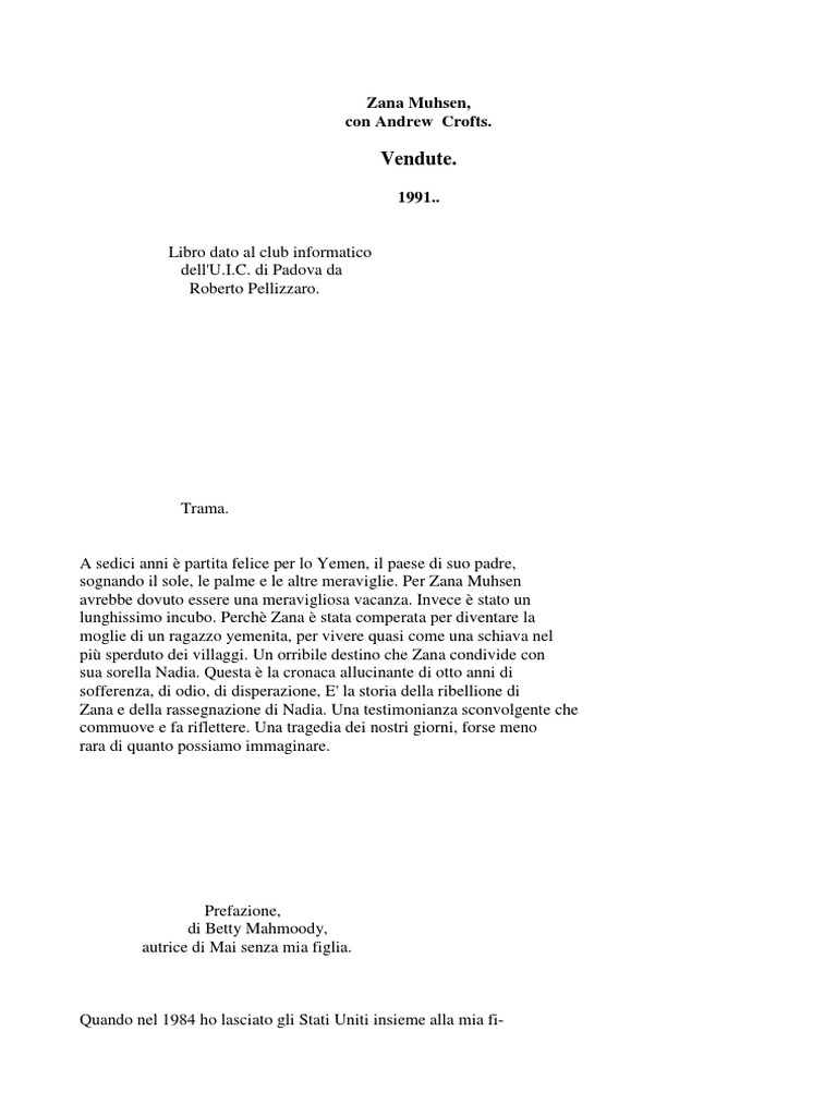 Zana Muhsen - Vendute (Ita Libro)