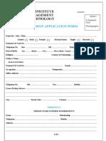 Admission Application Form
