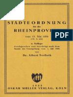 Städteordnung für die Rheinprovinz vom 15. Mai 1856 (1932)