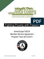 Vista Member Service Agreement 2013 14