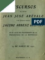Discursos J.J. Arevalo y J.J. Arbenz (1951)