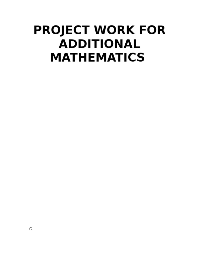 What is the answer for additional mathematics project work for form 4 2007???