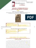 Heidegger en castellano - Dilucidación de la _Introducción_ de la _Fenomenología del Espíritu_ de Hegel