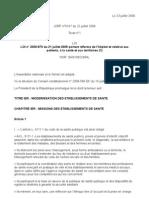 LOI n°2009-879 du 21 juillet 2009 relative à l'hôpital aux patients à la santé et aux territoires