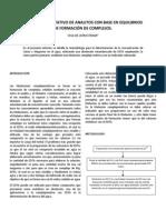 ANÁLISIS CUANTITATIVO DE ANALITOS CON BASE EN EQUILIBRIOS DE FORMACIÓN DE COMPLEJOS (1)