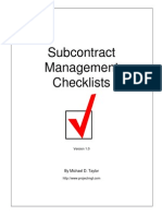 Checklist Subcontracts