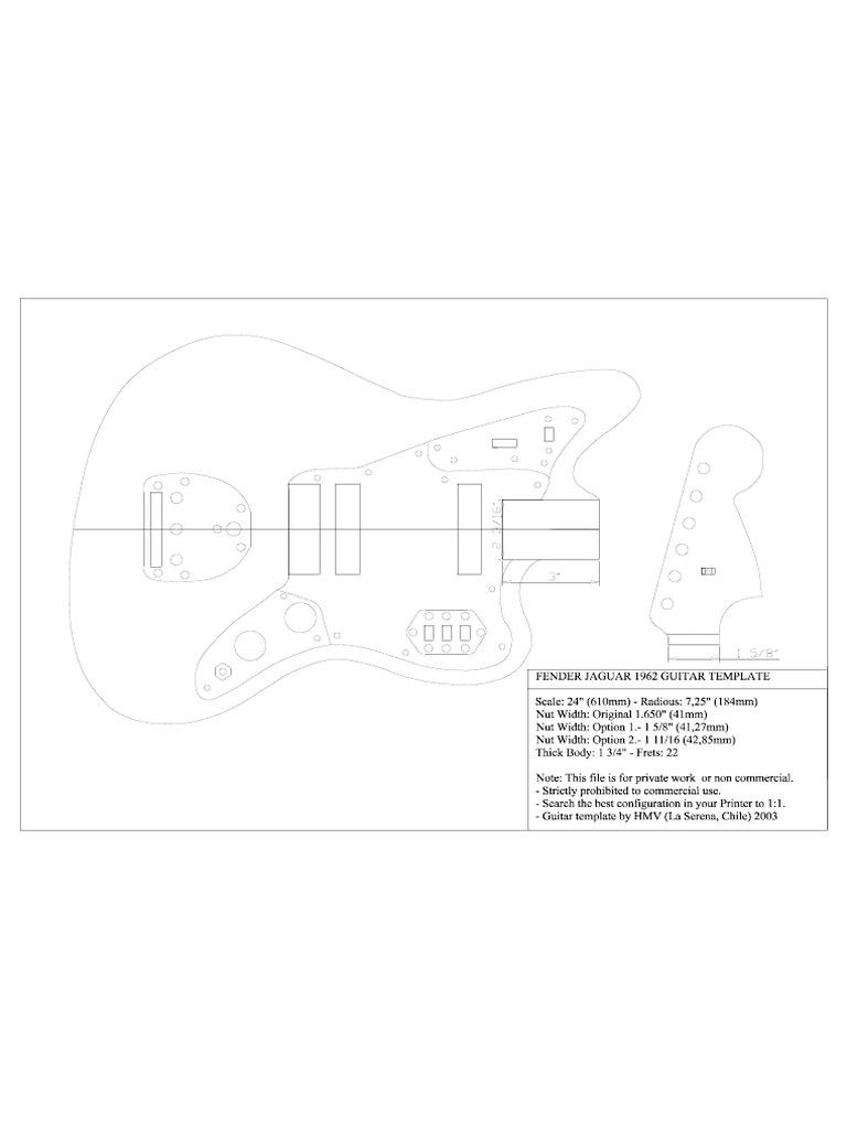 Guitar Plan Fender Jaguar Template