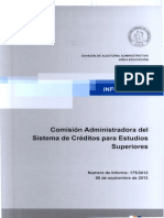 Fiscalización de Contraloría a la Comisión Administradora del Sistema de Créditos para Estudios Superiores