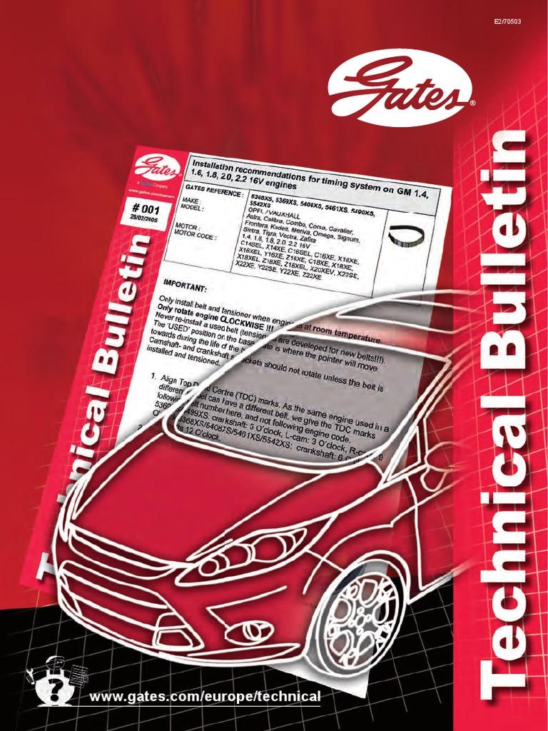 70503 E2 Technical Bulletin Belt Mechanical Fan Vauxhall Vectra B Timing Marks