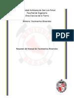 Resumen Manual de Yacimientos Minerales