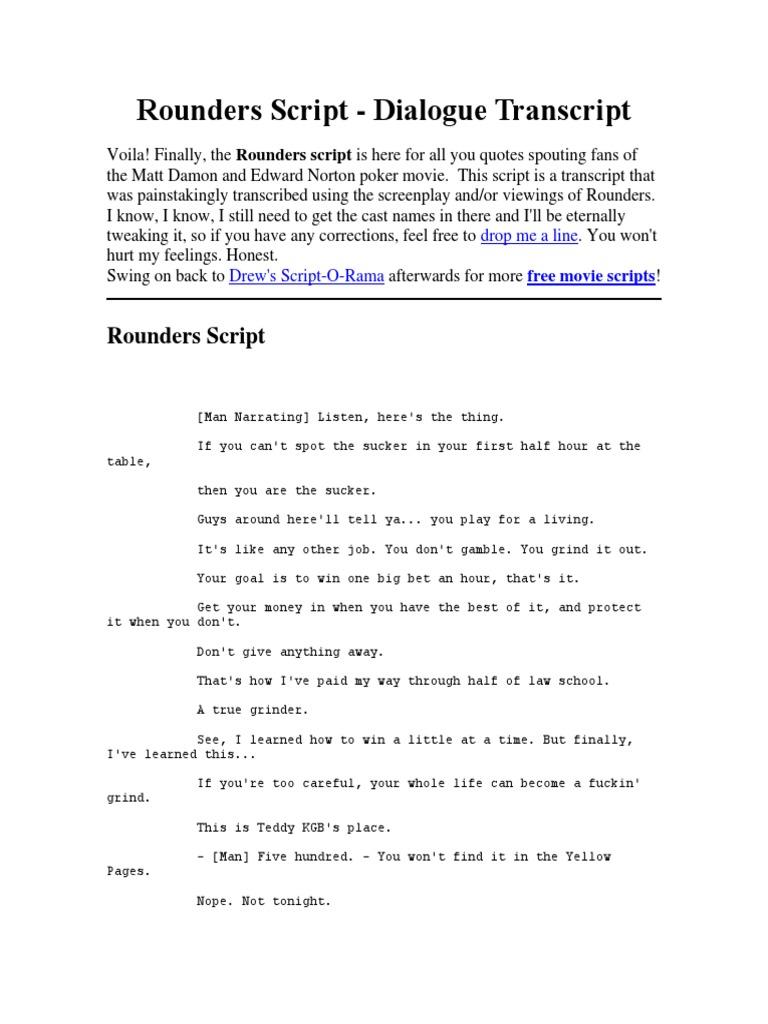 Rounders Script | Betting In Poker | Texas Hold 'Em
