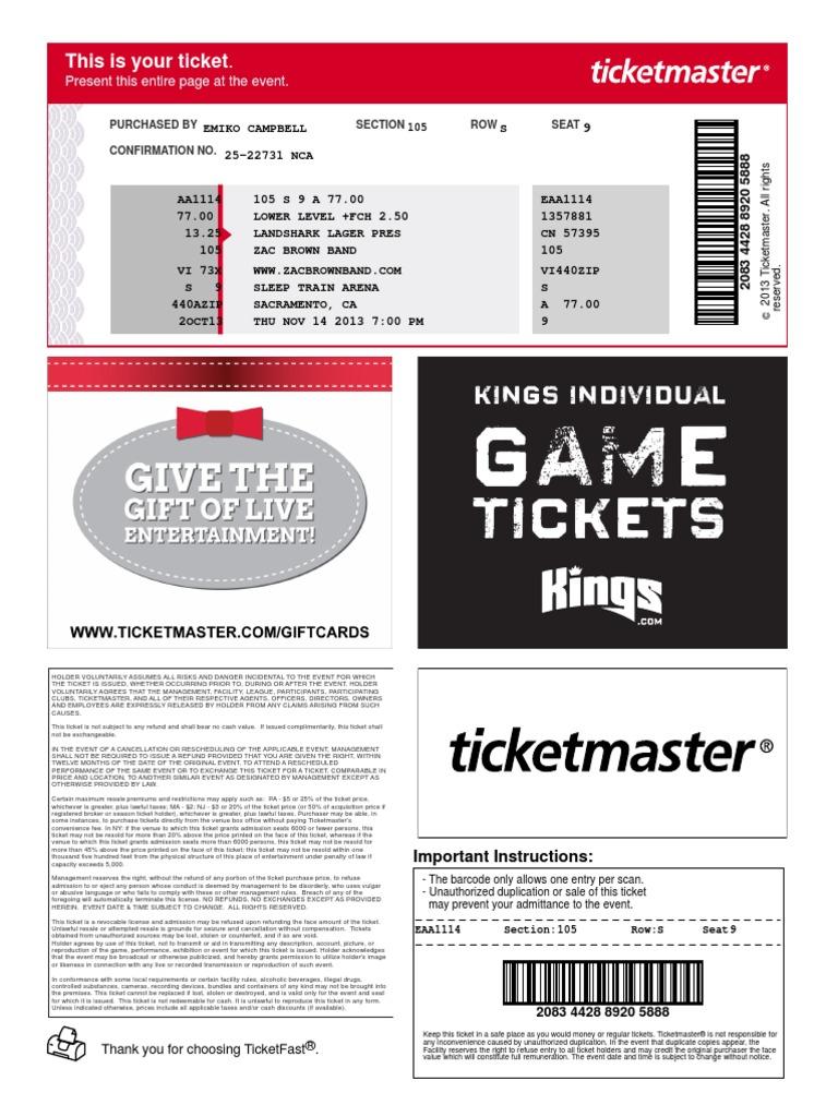 Tickets: Kings Individual