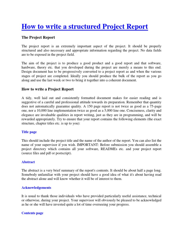 How To Write A Structured Project Report  PDF  Program