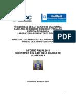 Monitoreo Del Aire en La Ciudad de Guatemala 2011 [USAC & MARN]