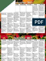 Prayer Calendar Nov-Jan