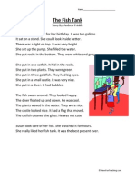 Fish Tank Second Grade Reading Comprehension Worksheet