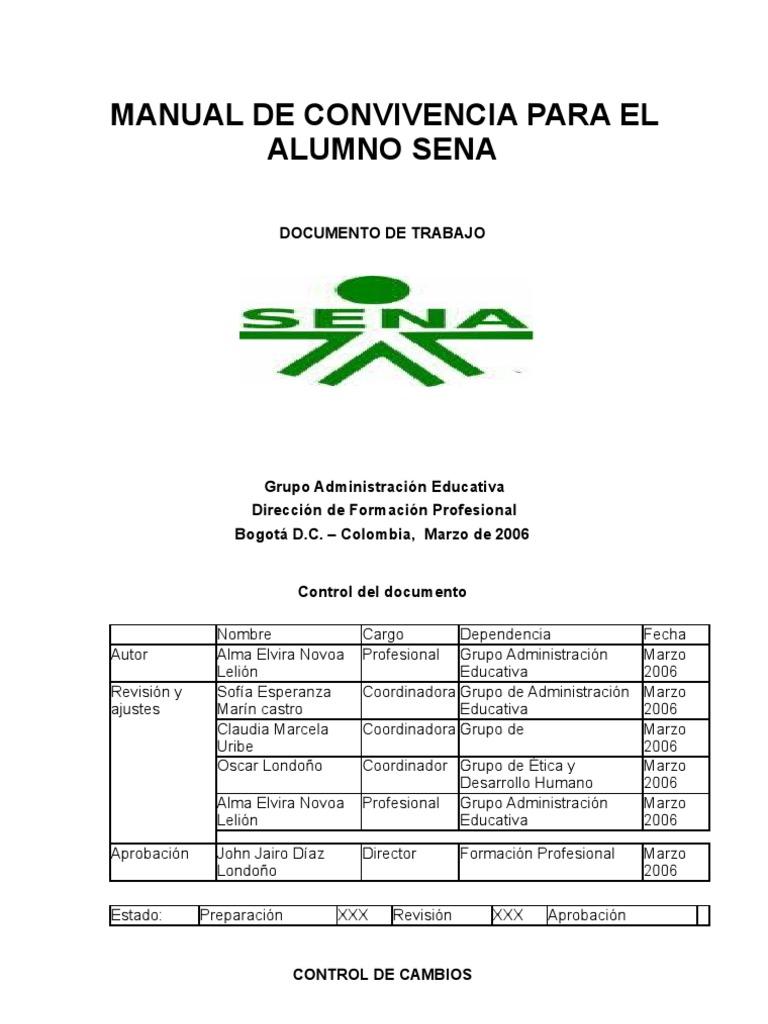 Manual de convivencia para el alumno sena for Manual de viveros forestales pdf