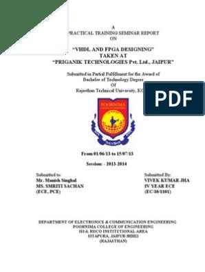 summer training Report | Vhdl | Hardware Description Language