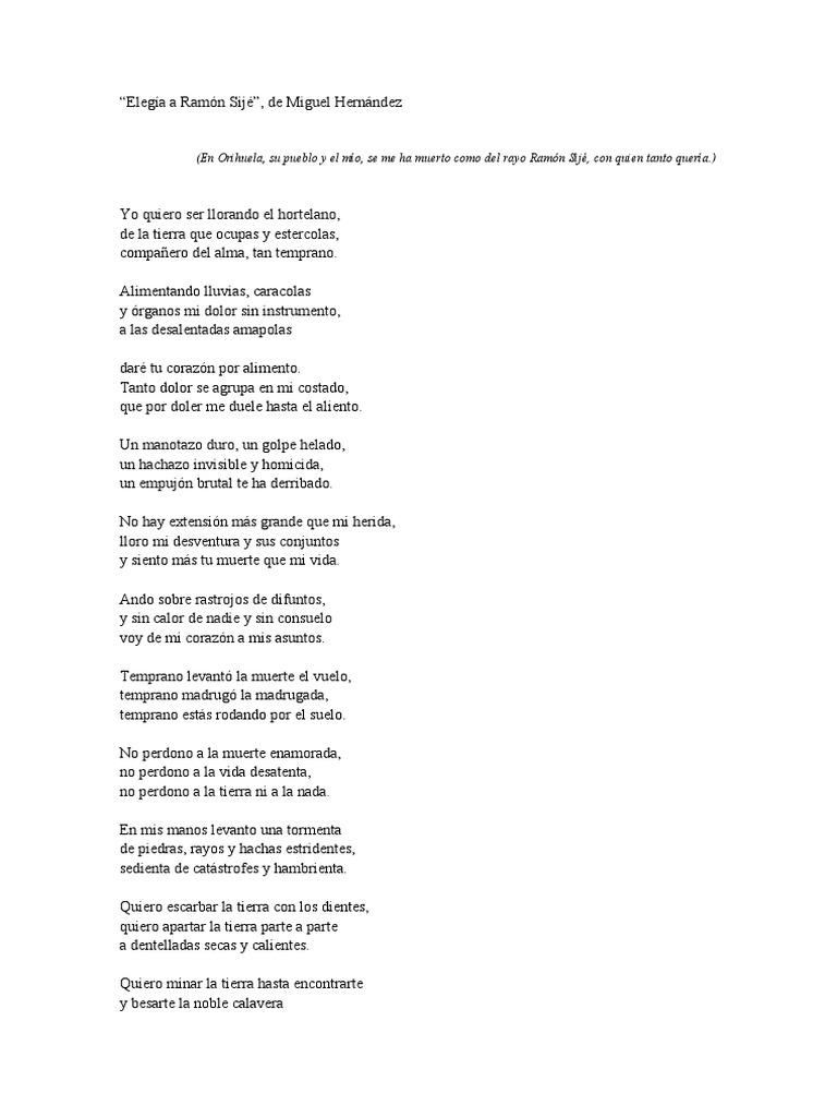 Elegía A Ramón Sijé Poesía