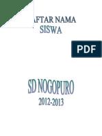 Daftar Nama Siswa Sd Nogopura 2012-2013