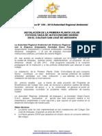 Boletin de Prensa 030 - 2013 -Planta Solar Fotovoltaica