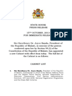 MALAWI GOVERNMENT CABINET LIST