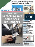 Grand Paris - Transports - Facture (Le Parisien 10 10 2013) + Lettre Huchon