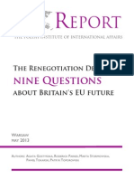PISM Report-The Renegotiation Delusion Nine Question About Britain's EU Future Nine Questions